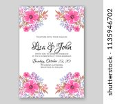 floral pink poppy wedding... | Shutterstock .eps vector #1135946702