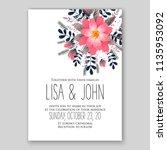 wedding invitation floral...   Shutterstock .eps vector #1135953092