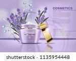 lavender cream cosmetic vector... | Shutterstock .eps vector #1135954448