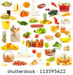 set of food and drinks on white ... | Shutterstock . vector #113595622