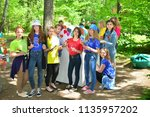 children on vacation children's ... | Shutterstock . vector #1135957202