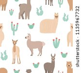 seamless pattern with adorable... | Shutterstock .eps vector #1135967732