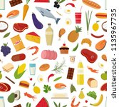 seamless pattern with grocery... | Shutterstock .eps vector #1135967735
