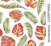 summer exotic floral tropical... | Shutterstock .eps vector #1135974002