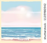 vintage seaside summer view... | Shutterstock .eps vector #1135980542