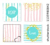 wedding invite set with glitter ... | Shutterstock .eps vector #1135980842