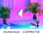isolated gold icon with plants... | Shutterstock . vector #1135981718