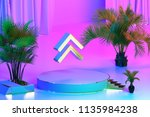 isolated gold icon with plants... | Shutterstock . vector #1135984238