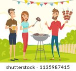 bbq party with friends. vector... | Shutterstock .eps vector #1135987415