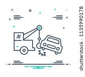 colorful icon for car towing  | Shutterstock .eps vector #1135990178