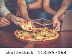 high angle view of young people ...   Shutterstock . vector #1135997168