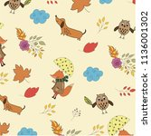 pattern with fox  owl and dog ... | Shutterstock .eps vector #1136001302