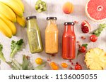 fruit and vegetable smoothie | Shutterstock . vector #1136005055