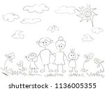 doodle happy family background  | Shutterstock .eps vector #1136005355