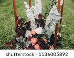 arch for wedding ceremony... | Shutterstock . vector #1136005892