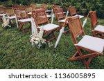 in area of wedding ceremony on... | Shutterstock . vector #1136005895