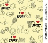 sports pattern on a beige... | Shutterstock .eps vector #1136006672