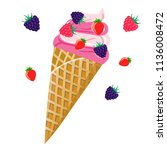ice cream in a waffle cup with... | Shutterstock .eps vector #1136008472