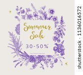 summer sale. vector floral... | Shutterstock .eps vector #1136016572