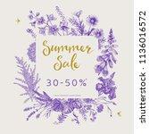 summer sale. vector floral... | Shutterstock .eps vector #1136016572