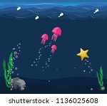 seascape with the underwater...   Shutterstock .eps vector #1136025608