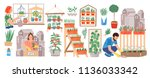 urban gardening collection.... | Shutterstock .eps vector #1136033342