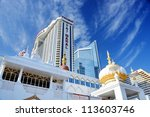 ATLANTIC CITY, NJ -  SEPTEMBER 8: Trump Taj Mahal Casino on September 8, 2012 in Atlantic City, New Jersey. Gambling was legalized in the city in 1976 and led to a resurgence. - stock photo