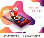 online movie concept with... | Shutterstock .eps vector #1136040845