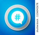 white hashtag in circle icon... | Shutterstock . vector #1136042678