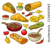 mexican traditional food set... | Shutterstock .eps vector #1136043065