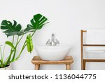 bathroom interior with white... | Shutterstock . vector #1136044775