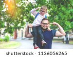 back to school. happy father... | Shutterstock . vector #1136056265