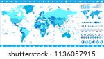 world map in colors of blue and ... | Shutterstock .eps vector #1136057915