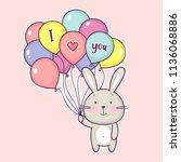 cute little rabbit holding air... | Shutterstock .eps vector #1136068886