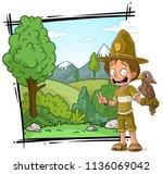 cartoon smiling ranger boy... | Shutterstock .eps vector #1136069042