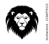 sign of a black lion on a white ... | Shutterstock .eps vector #1136074112