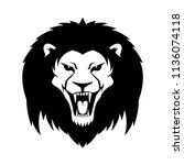 sign of a black lion on a white ... | Shutterstock .eps vector #1136074118
