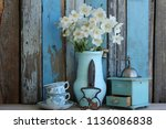 floral composition with fresh... | Shutterstock . vector #1136086838