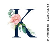 floral alphabet   navy color... | Shutterstock . vector #1136093765