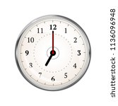 realistic clock face showing 07 ... | Shutterstock .eps vector #1136096948
