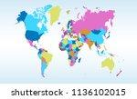 color world map vector | Shutterstock .eps vector #1136102015