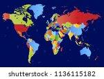 color world map vector | Shutterstock .eps vector #1136115182