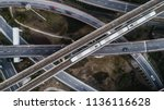 aerial view of railway  highway ... | Shutterstock . vector #1136116628