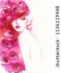 beautiful woman. fashion... | Shutterstock . vector #1136119448