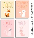 set of 4 cute cards with... | Shutterstock .eps vector #1136120912