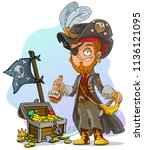 cartoon bearded pirate... | Shutterstock .eps vector #1136121095