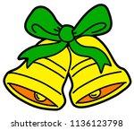 vector cartoon christmas bells... | Shutterstock .eps vector #1136123798