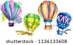 hot air balloon background fly... | Shutterstock . vector #1136133608