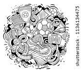 cartoon vector doodles football ...   Shutterstock .eps vector #1136134475
