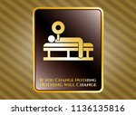 gold emblem with bench press... | Shutterstock .eps vector #1136135816